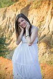 Happy girl in white dress Royalty Free Stock Photo