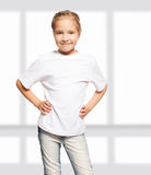 Happy girl in white t-shirt Stock Photos