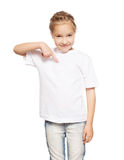 Happy girl in white t-shirt Royalty Free Stock Photos