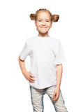 Happy girl in white t-shirt Stock Photography