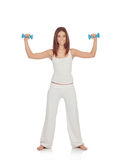 Happy girl in white toning her muscles Stock Photography