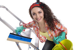 Happy girl will clean Royalty Free Stock Photo