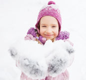 Happy girl in winter Stock Photography