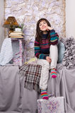 Happy girl winter clothes Stock Images