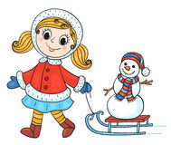 The happy girl in winter clothes with snowman. Stock Photography