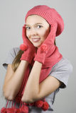 Happy girl in winter clothing Stock Photography