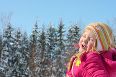 Happy girl in winter forest Royalty Free Stock Images