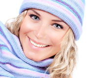 Happy girl in winter hat Royalty Free Stock Image