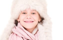Happy girl in winter hat Royalty Free Stock Photography