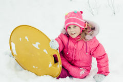 Happy girl in winter outdoors. Royalty Free Stock Photos
