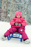 Happy girl in winter outdoors. Royalty Free Stock Photography