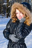 Happy girl in winter park Royalty Free Stock Image