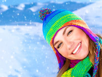 Happy girl in winter park Royalty Free Stock Photos