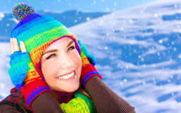Happy girl in winter park Royalty Free Stock Photo