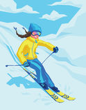 Happy girl on winter resort skiing there. Vector illustration of happy girl on winter resort skiing there. Female on the ski on the background of snowy Stock Image