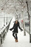 Happy girl in winter season Royalty Free Stock Photo