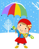 Happy girl in winter with umbrella Royalty Free Stock Images