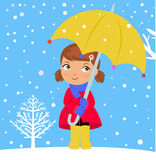 Happy girl in winter with umbrella Royalty Free Stock Photos