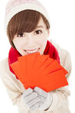 Happy girl with winter wear Stock Image