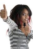 Happy girl wishing good luck Stock Images