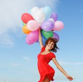 Happy Girl With Balloons Stock Photos