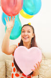 Happy Girl With Balloons Royalty Free Stock Image