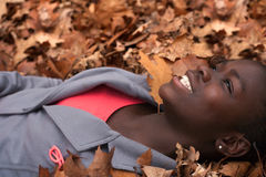 Happy Girl With Leafs Stock Photo