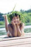 Happy Girl With Wreath Stock Photo