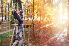 Happy girl, woman, climbing gear in an adventure, rope road, insurance, attraction, amusement park, active recreation, autumn stock photos