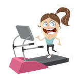 Happy girl woman on treadmill Royalty Free Stock Image