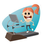 Happy girl woman on treadmill. Clipart of a happy girl woman on treadmill Stock Image