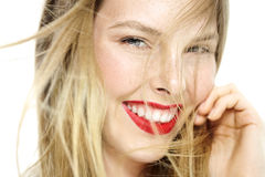 Happy Girl. Happy womn with freckles and red lipstick Stock Photo