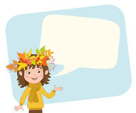 Happy girl with wreath of autumn leaves on the head and bubble for text on a background of light blue rectangle. Royalty Free Stock Photo