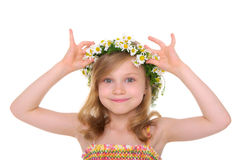 Happy girl with wreath of daisies Royalty Free Stock Images