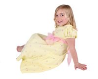 Happy girl in yellow dress Stock Photography