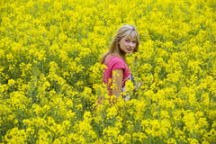 Happy girl in yellow field Royalty Free Stock Image