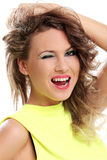 Happy girl in yellow has crazy look Royalty Free Stock Photos