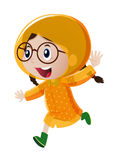 Happy girl in yellow raincoat. Illustration Royalty Free Stock Photo
