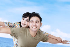 Happy girlfriend enjoy piggyback ride Royalty Free Stock Photo