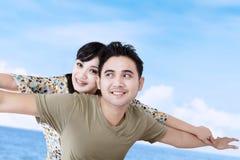 Happy girlfriend enjoy piggyback ride Royalty Free Stock Photo