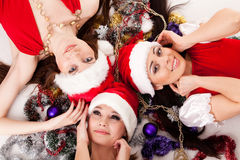 Happy girlfriends with  Christmas decoration. Stock Photo