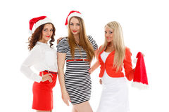 Happy girlfriends. Christmas. Royalty Free Stock Photography