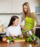 Happy girlfriends cooking something together Royalty Free Stock Images