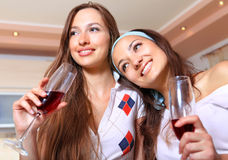 Happy girlfriends with glasses on kitchen Stock Image