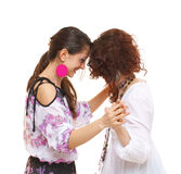 Happy girlfriends laughing Stock Photos