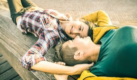 Happy girlfriends in love sharing time together at travel trip. Outdoors in spring break season - Women friendship concept with lovely girls having sweet fun Royalty Free Stock Images