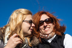 Happy girlfriends outdoors Royalty Free Stock Images