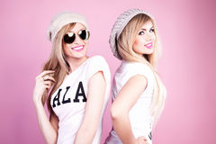 Happy girlfriends posing. Royalty Free Stock Photography