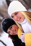 Happy girls. Portrait of two young happy girls Stock Photo