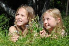 Happy little girls Stock Photos
